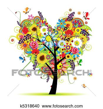 Stock Illustration - summer floral  tree, heart shape.  fotosearch - search  clipart, illustration  posters, drawings  and vector eps  graphics images