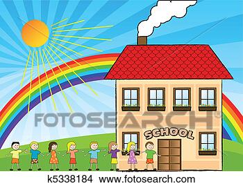 Stock Illustration - children and school.  fotosearch - search  clipart, illustration  posters, drawings  and vector eps  graphics images