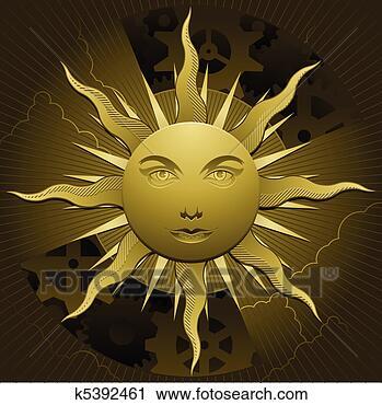 金色太阳卡通图