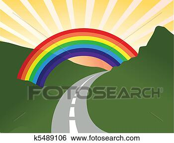 Clip art soleggiato paesaggio con arcobaleno k5489106 - Soleggiato in inglese ...