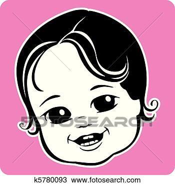 手绘图 - 漂亮, 婴儿脸
