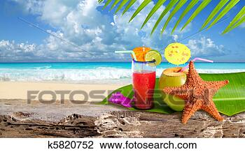 Banco de Imagem - coco, coquetel,  starfish, tropicais,  praia. fotosearch  - busca de fotos,  imagens e clipart