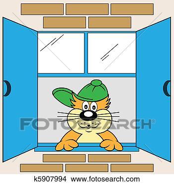 手绘图 - 卡通漫画, 猫, 在, 窗口.图片