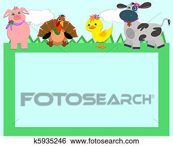 Clip art cornice con animali fattoria k5935246 cerca for Stampe di fattoria gratis