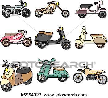 摩托车跑车手绘图