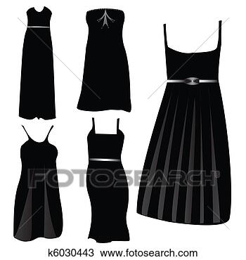 Drawing - modern formal dresses. Fotosearch - Search Clipart