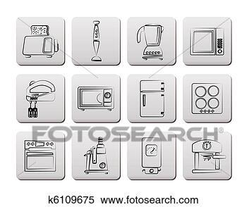 클립아트 - 부엌, 와..., 가정, 장비, 아이콘 k6109675 - 클립 아트 ...