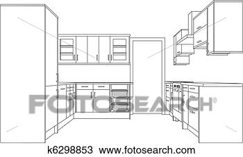 Drawing of Drawing of a Fitted Kitchen k6298853 - Search Clipart