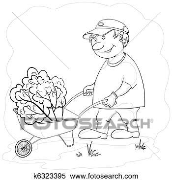 Banque d 39 illustrations jardinier brouette contours for Recherche jardinier