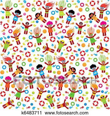Clipart - summer-pattern-beach.  fotosearch - recherchez  des cliparts,  des illustrations,  des dessins et  des images vectorisées  au format eps