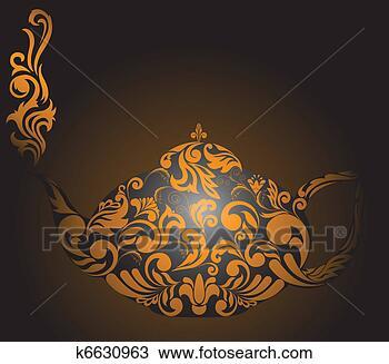 手绘图 - 茶壶, 带, 金色