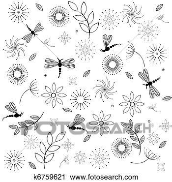 剪贴画 - 背景;, 带, 花