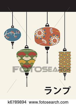 手绘图 - 日本, 灯, 背景;