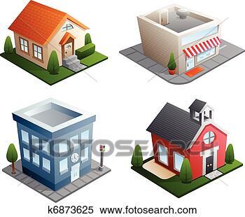클립아트 - 건물, 삽화 k6873625 - 클립 아트, 일러스트레이션 벽화 ...