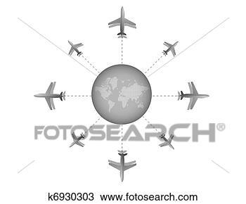 手绘图 - 飞机, 目的地