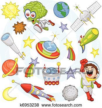 Stock illustration karikatur weltraum satz fotosearch suche