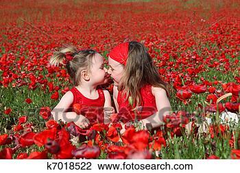 Banco de Imagem - pequeno, meninas,  sentando, verão,  papoula, campo.  fotosearch - busca  de fotos, imagens  e clipart