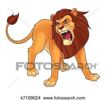 狮子, 卡通, 插图, 为
