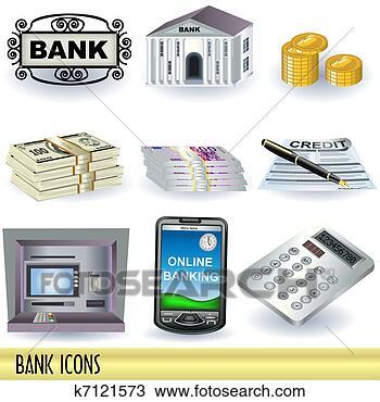 手绘图 - 银行, 图标
