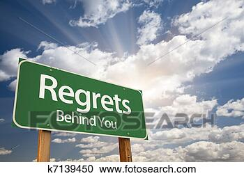 Stock Photography - regrets, behind  you green road  sign. fotosearch  - search stock  photos, pictures,  wall murals, images,  and photo clipart