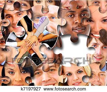 Foto - grupo, negócio,  pessoas, pedaços,  quebra-cabeça.  fotosearch - busca  de fotos, imagens  e clipart
