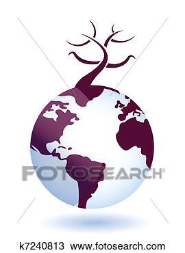 手绘图 - 全球, 环境,
