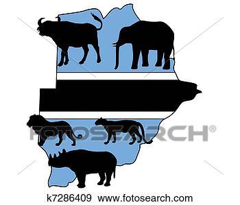 african, africana, bicornis, caffer, diceros, leo, loxodonta, panthera, pardus, rhino, syncerus, 侧面影象, 动物, 博茨瓦纳, 哺乳动物, 地图, 大, 奖杯, 布法罗, 怀特, 打猎, 描述, 旅行, 海角, 游戏, 犀牛, 狮子, 猎人, 矢量, 红, 背景;, 蓝色, 象, 豹, 隔离, 非洲, 颜色, 黑色, 插画,图画,剪贴画,图像,图片,绘图,美术作品, 免版税, k7286409