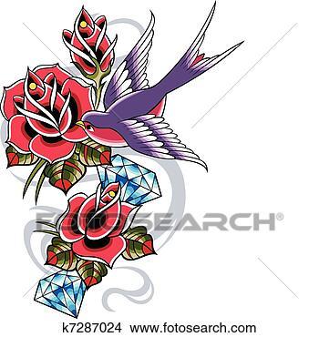 Clipart rondine classico tatuaggio k7287024 cerca for Rondine in inglese