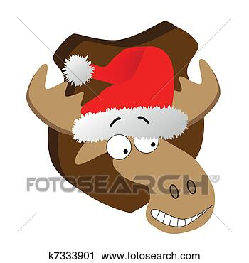 剪贴画 - 鹿, 带, 圣诞老人帽子