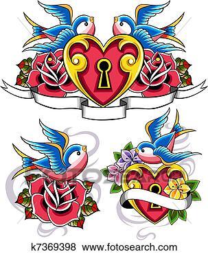 Archivio illustrazioni stile tatuaggio rondine for Rondine in inglese