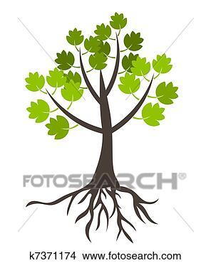 手绘图 - 树, 带, 根