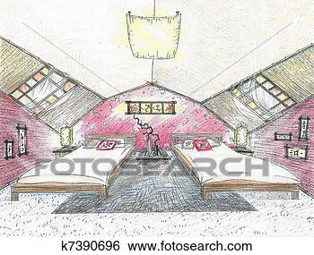 Banque d 39 illustrations croquis de chambre coucher for Chambre a coucher oriental