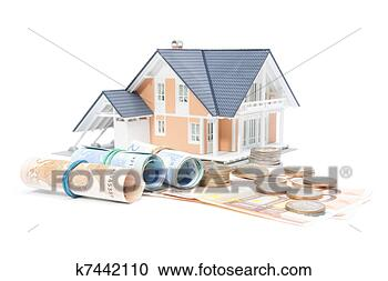 Stock Photography - home finances - house and money. fotosearch - search stock photos, pictures, wall murals, images, and photo clipart