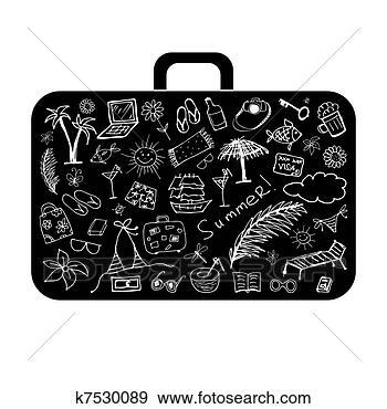 Vacanza estate, valigia, per, tuo, disegno visualizza illustrazione