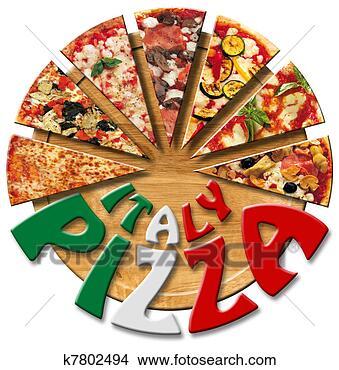 dessins italie pizza sur les planche d couper k7802494 recherche de clip arts d. Black Bedroom Furniture Sets. Home Design Ideas