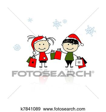 santa, 一起, 人们, 假日, 兄弟, 冬季, 勾画, 包裹, 十二月, 卡通漫画, 友谊, 圣诞节, 女孩, 姐妹, 婴儿, 季节, 孩子, 家庭, 帽子, 年, 庆祝, 开心, 微笑, 心不在焉地乱写乱画, 性格, 手, 描述, 提出, 新, 暴风雪, 朋友, 爱, 玛丽, 男孩, 矢量, 礼物, 红, 背景;, 袋子, 设计, 购物, 销售, 雪, 雪花, 插画,图画,剪贴画,图像,图片,绘图,美术作品, 免版税, k7841089