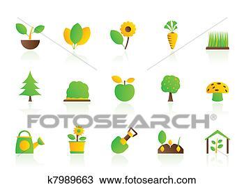 手绘图 - 不同, 植物,