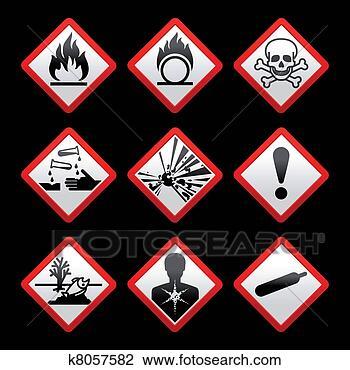 ... safety symbols Hazard signs Black background View Large Illustration