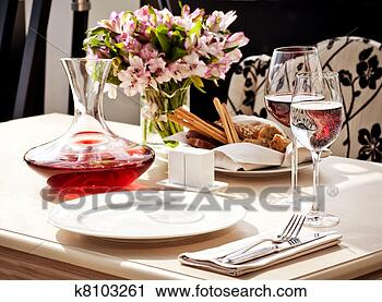 Stock Photography Of Fine Restaurant Dinner Table Place Setting K8103261 Se