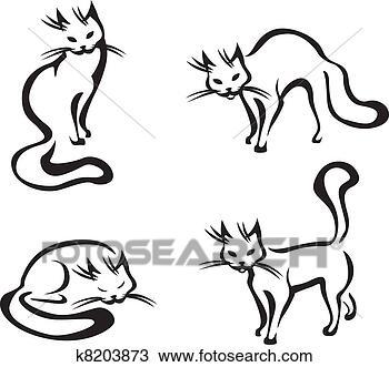手绘图 - 漂亮, 家, 猫