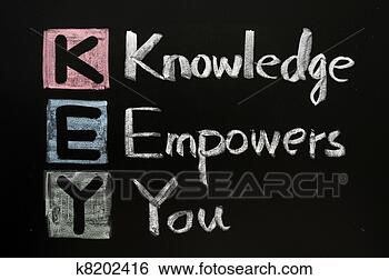 Stock Photo - key acronym -  knowledge empowers  you on a blackboard  with words. fotosearch  - search stock  photos, pictures,  wall murals, images,  and photo clipart