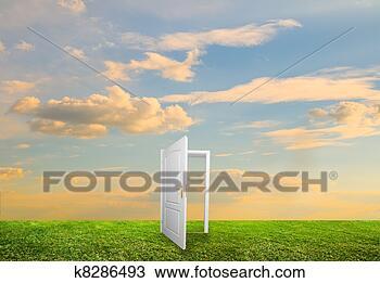 Banco de Imagem - abertos, porta,  novo, vida. fotosearch  - busca de fotos,  imagens e clipart
