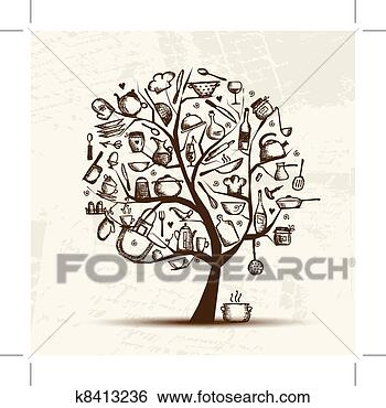 Stock illustration of art tree with kitchen utensils sketch drawing