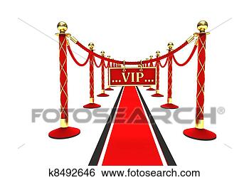 Stock Illustration of A red carpet and velvet rope ...