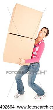 Banco de Imagem - mulher, dolorosamente,  carregar, caixas.  fotosearch - busca  de fotos, imagens  e clipart