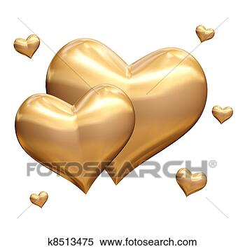 Stock Image - golden hearts  3d. fotosearch  - search stock  photos, pictures,  wall murals, images,  and photo clipart