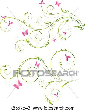 Drawing of floral design with pink flowers