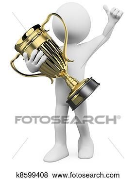 Stock Illustration - 3d winner with a gold trophy in the hands. fotosearch - search clipart, illustration posters, drawings and vector eps graphics images