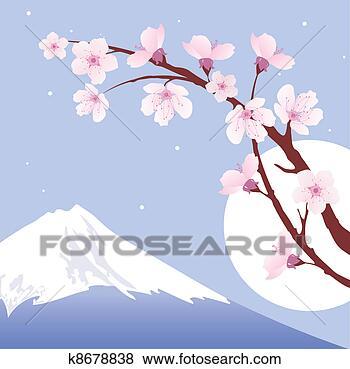 樱花和月亮的图片