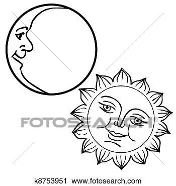 太阳和月亮简笔画